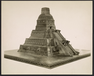 Model of a Mayan Temple made in Mexico by Yanko Brajovitch