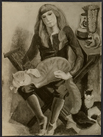 Reproduction of Marguerite Zorach's painting Child with cat