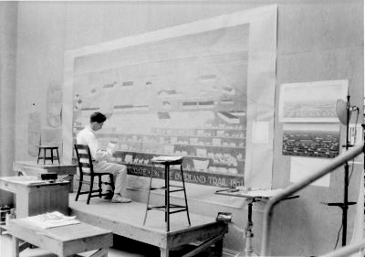 [William Bunn working on a mural for the Minden Post Office, Minden, NE]