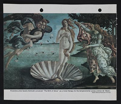 [Reproduction of Botticelli's painting The birth of Venus]