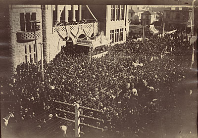 President Benjamin Harrison at City Hall, Los Angeles, Calif. during his Western tour of the United States
