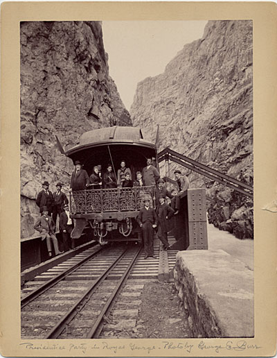 President Benjamin Harrison in Royal Gorge, Seattle, Wash. during his Western tour of the United States
