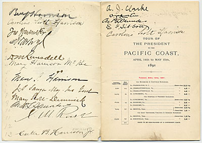 itinerary autographed by those on President Benjamin Harrison's Western tour of the United States to the Pacific Coast