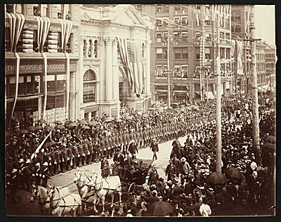 [Parade celebrating President Harrison's Pacific tour]