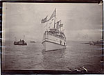 President Benjamin Harrison's ship arriving in  Seattle during his Western tour of the United States