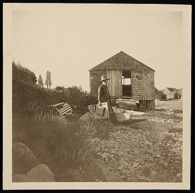 Mary Butler at the New England shore
