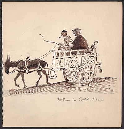 Donkey pulling a cart with two passengers