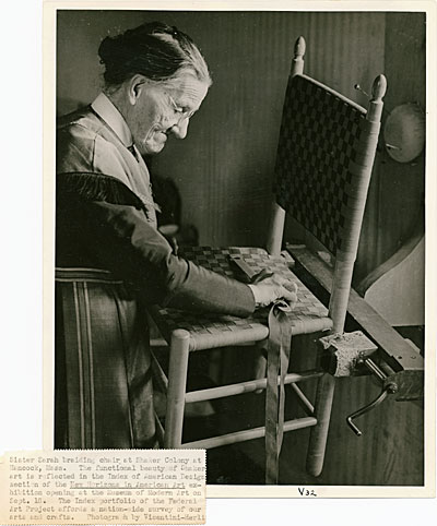 Sister Sarah braiding a chair