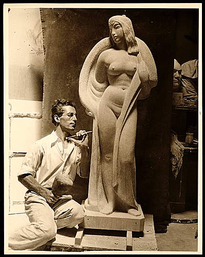 Samuel Cashwan working on his sculpture Spring