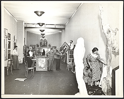 [Installation of the twelfth annual Salons of America exhibition]