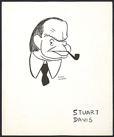 [Reproduction of a caricature of Stuart Davis by Aline Fruhauf]