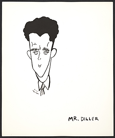 [Reproduction of a caricature of Burgoyne Diller by Aline Fruhauf]