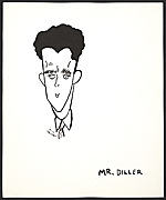 Reproduction of a caricature of Burgoyne Diller by Aline Fruhauf