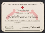 American Red Cross certification of Basic Rescue and Water Safety for Jerome Caja