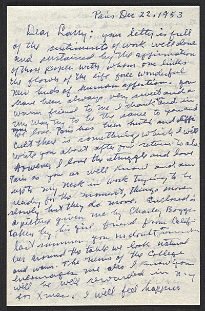[Beauford Delaney, Paris, France letter to Lawrence Calcagno]