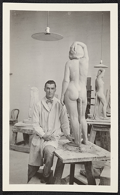 Victor Arnautoff with a sculpture of a woman