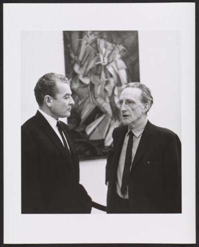 [Henri Marceau and Marcel Duchamp at the Armory Show 50th Anniversary exhibition]