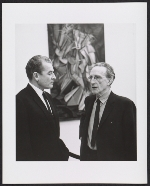 Henri Marceau and Marcel Duchamp at the Armory Show 50th Anniversary exhibition