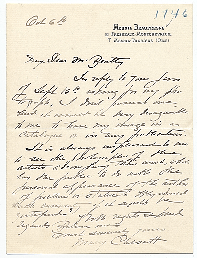 Mary Cassatt, Paris, France letter to John Wesley Beatty, Pittsburgh, Pa.