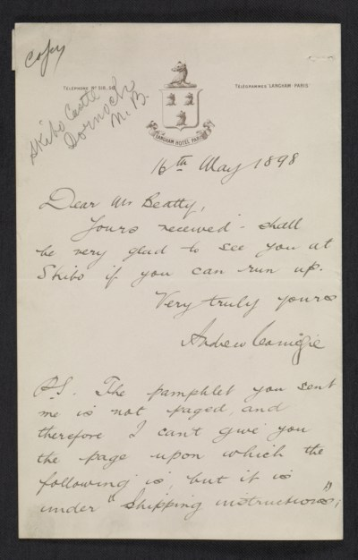 Andrew Carnegie, Dornoch, Scotland letter to John Wesley Beatty, Pittsburgh, Pa.