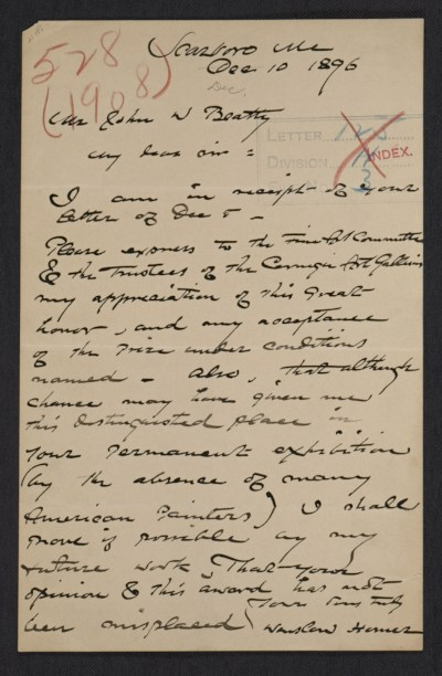 [Winslow Homer, Scarborough, Me. letter to John Wesley Beatty, Pittsburgh, Pa.]