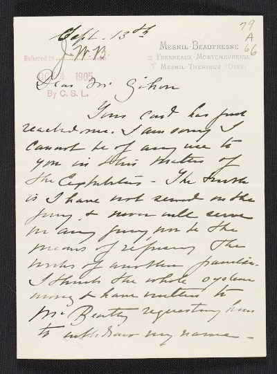 [Mary Cassatt letter to Albert Dakin Gihon]