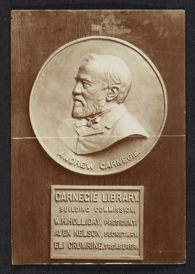 [Bronze portrait medallion of Andrew Carnegie in the Carnegie Library]