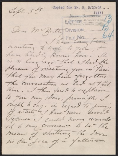 Mary Cassatt letter to John Wesley Beatty
