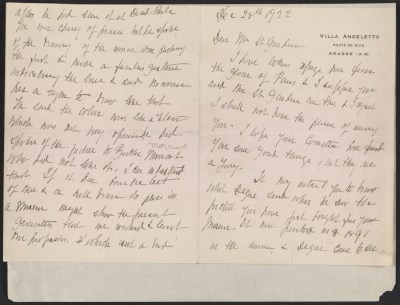 Mary Cassatt letter to Homer Saint-Gaudens