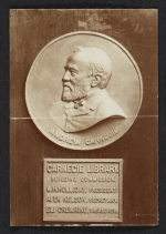 Bronze portrait medallion of Andrew Carnegie in the Carnegie Library