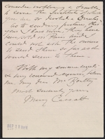 [Mary Cassatt letter to John Wesley Beatty 2]