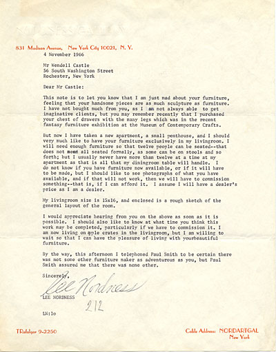 Lee Nordness, New York, N.Y. letter to Wendell Castle, Rochester, N.Y