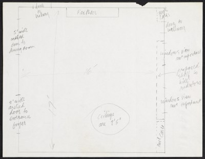 Lee Nordness floorplan sketch for Wendell Castle