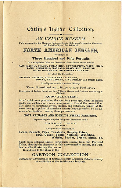 Leaflet accompanying Petition of George Catlin to Congress
