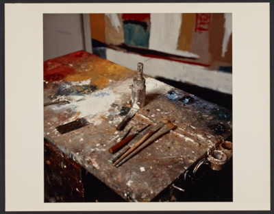 [Giorgio Cavallon/Linda Lindeberg paint brushes and work table]