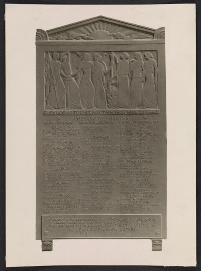 [Tablet sculpted by Gaetano Cecere for the National League of Women Voters]