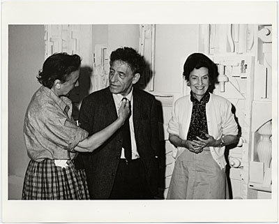 [Louise Nevelson, Alberto Giacometti, and Dorothy Miller at the American Pavilion of the Venice Biennale, where Miller was installing Nevelson's work]