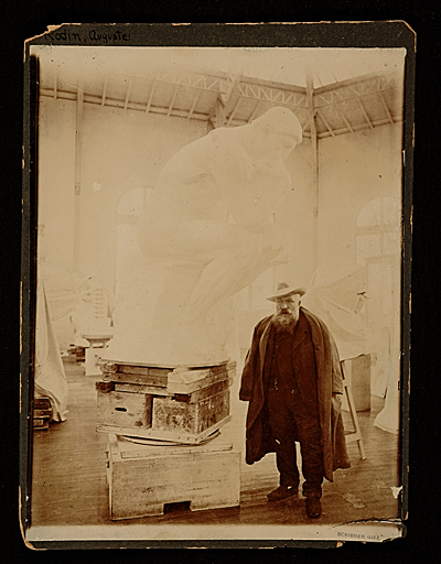 [Auguste Rodin in his studio with sculpture The Thinker]