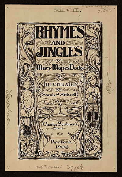 [Book cover design for 'Rhymes and Jingles' by Mary Mapes Dodge]