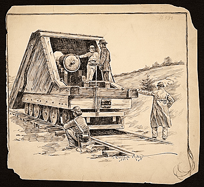 [Cannon transport on rails]