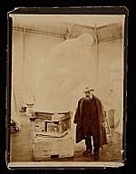 [Auguste Rodin in his studio with sculpture The Thinker ]