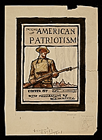 N. C. Wyeth sketch for Poems of American patriotism book cover