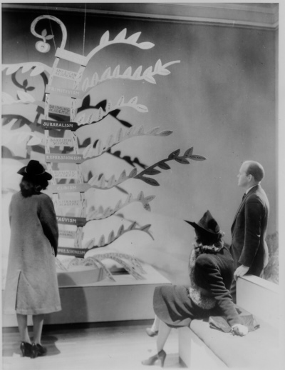 [Viewers examining display for exhibition Modern Painting Isms and How They Grew, Baltimore Museum of Art, 1940]