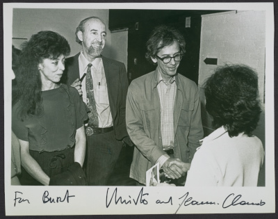 Jeanne-Claude, Burt Chernow, and Christo at the Wrapped coast exhibition, Westport Connecticut
