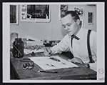 Albert Christ-Janer working on a lithograph