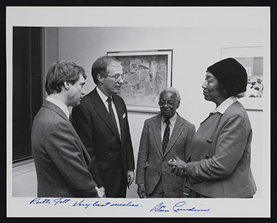 [Ruth Jett, Ernest Crichlow, Stan Lundine, and unidentified guest at opening reception for exhibition at Fordham Plaza]