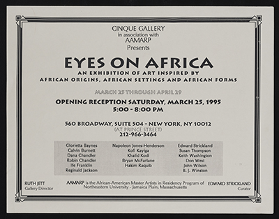 [Flyer for Eyes on Africa, Cinque Gallery]