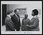 [Ruth Jett, Ernest Crichlow, Stan Lundine, and unidentified guest at opening reception for exhibition at Fordham Plaza 1]