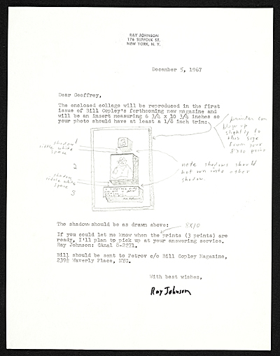 Ray Johnson letter to Geoffrey Clements