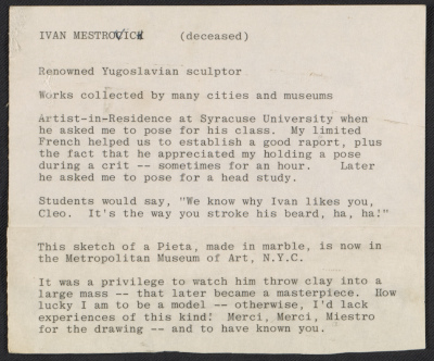Cleo Dorman notes on Ivan Mestrovic